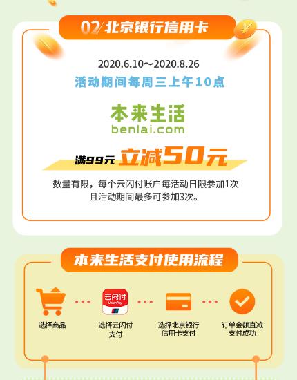 北京银行, 中粮我买网、本来生活满99立减50元优惠!