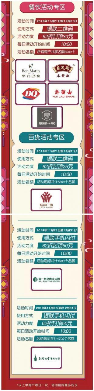 上海银行,餐饮百货商户62折封顶50元!