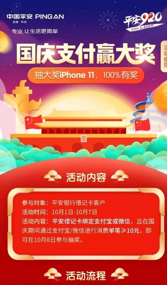 平安银行,国庆支付赢iPhone11另外100%有奖!