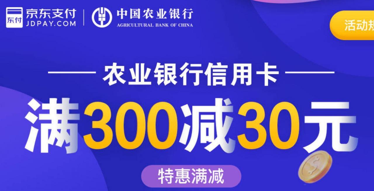 农业银行,京东支付满300-30!